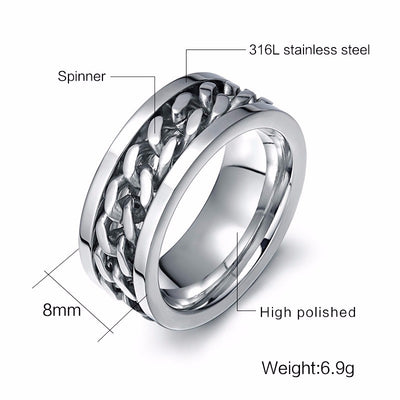Highly Polished Rotatable Chain Stainless Steel Ring