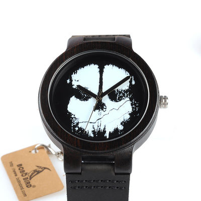 Ebony Finish Wood Watch with Skull Design - Leather Band