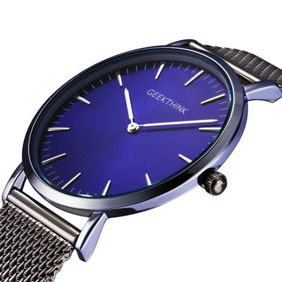 Stylish Ultra Thin Watch With Stainless Steel Mesh Band
