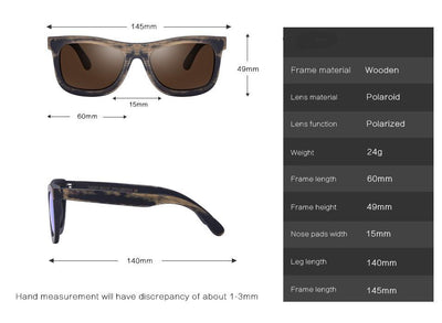 Retro Design Bamboo Frame Sunglasses -  Eco Friendly