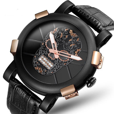 Elegant 3D Etched Skull Men's Watch