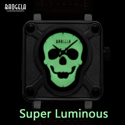 Luminous Skull and Leather Band Square Faced Wrist Watch
