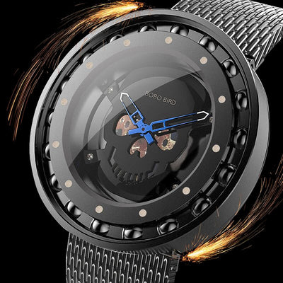 Ball Bearing Bezel Steel Skull Watch