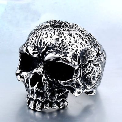 Stainless Steel Antiqued Skull Ring