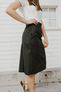 Allison Skirt - Poly/Wool Allison Skirt Charcoal Pinstripe