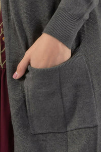 Cardigan Sweater - Soft Knit Cardigan High Gage - Charcoal