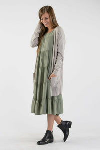 Cardigan Sweater - Soft Knit Cardigan High Gage - Warm Grey