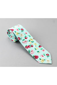 General - Cotton Tie - Light Green Design W/Flowers