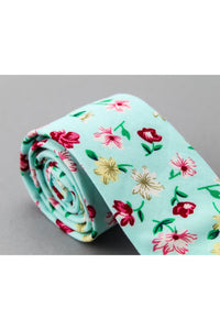 Cotton Tie - Light Green Design w/Flowers