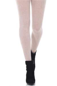 Merino Wool Tights Oatmeal Ribbed