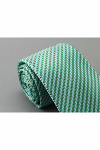 Polyester Pocket Tie - Green Stripes