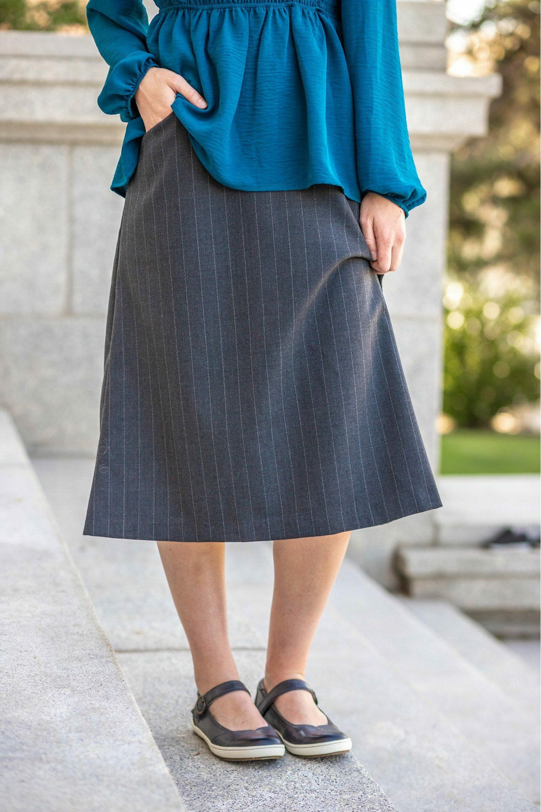 Jasmine Skirt - Poly/Wool Jasmine Skirt Charcoal Pinstripe