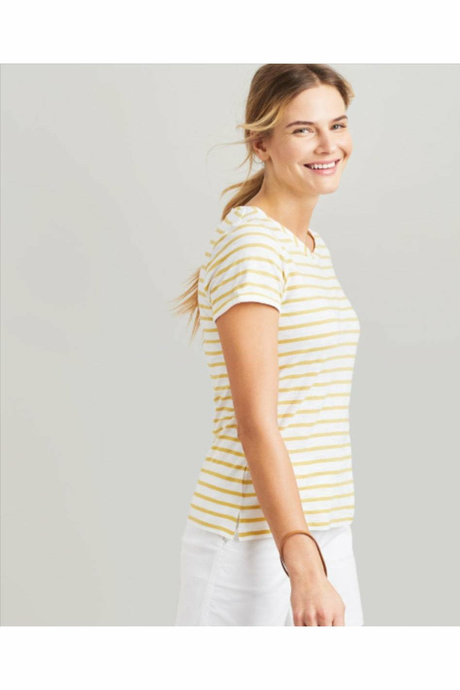 Joules Top - Nessa Stripe Lightweight Jersey T-shirt White/Lemon Stripe