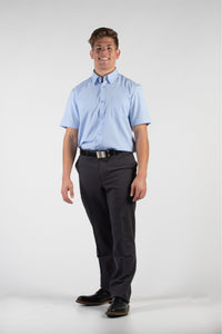 Robbins & Brooks Dress Shirt - Robbins & Brooks 4-Way Flex Blue Dress Shirt Short Sleeve