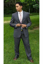 Load image into Gallery viewer, Robbins & Brooks Gold 2-Pant Wool Blend Suit Charcoal