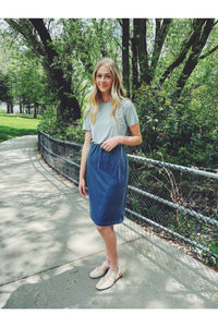 Skirts - Carrie Stretch Velvet Skirt Azure
