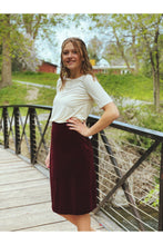 Load image into Gallery viewer, Skirts - Carrie Stretch Velvet Skirt Burgundy