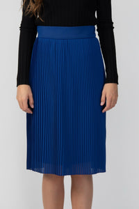 Skirts - Pleated Midi Skirt Blue