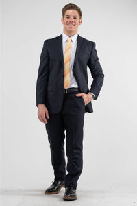 Suits - Wool-Blend Slim-Fit Suit Navy Herringbone