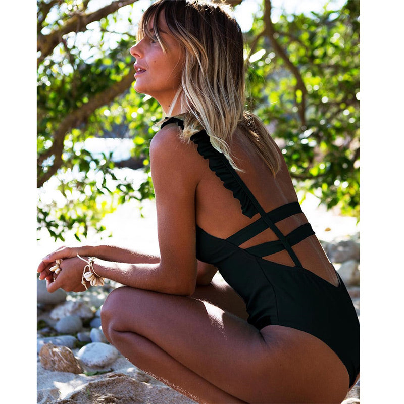 Sexy One Piece Solid Backless