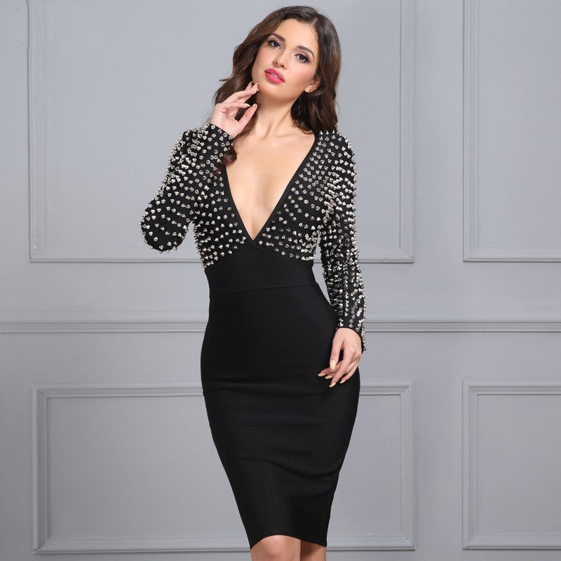 Bandage Dress Black Studded