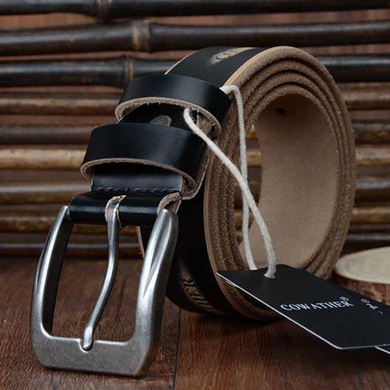 COWATHER 2017 high quality cow genuine leather luxury strap male belts for men new fashion style pin buckle free shipping