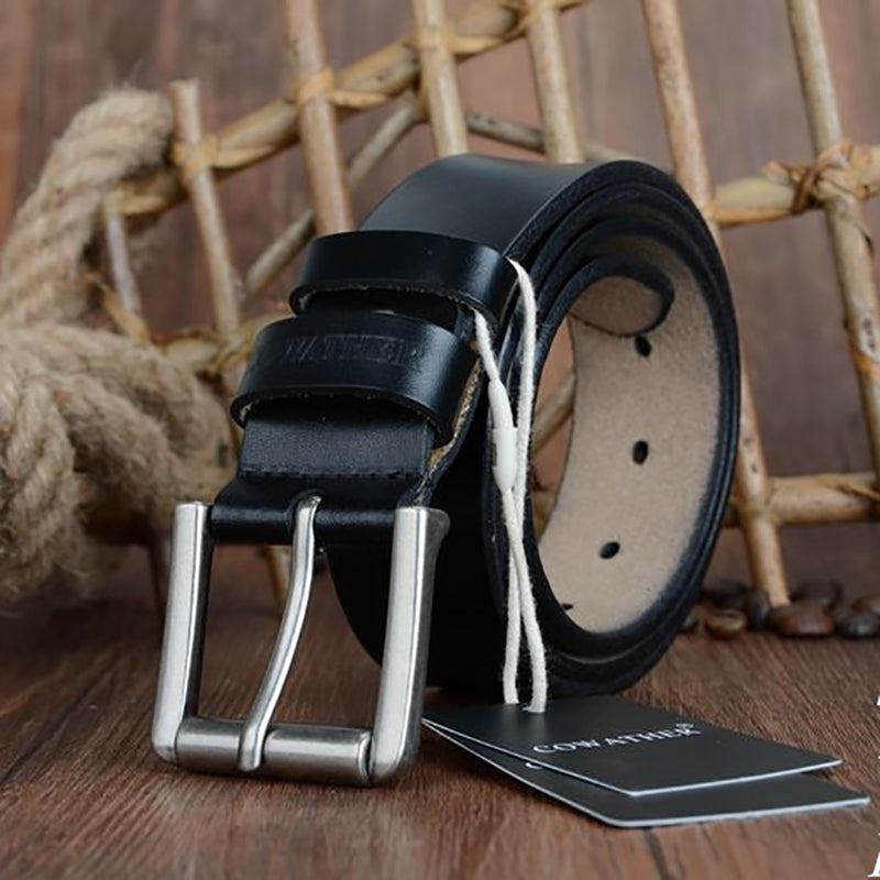 COWATHER cow genuine leather mens belt for men 2017 high quality luxury three colors 100-130cm belt for men free shipping