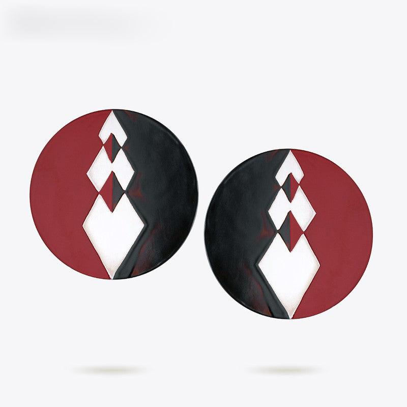 Enfashion Lacquer Art Series Black and Red Stud Earrings Stainless Steel Earrings for Women Earings oorbellen EBQ18LA01