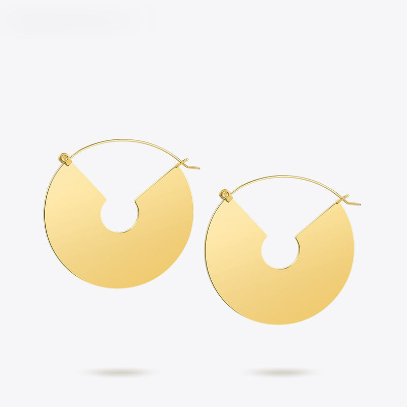 Enfashion Big Fan Earrings Circle Dangle Earings Gold color Oversize Drop Earrings For Women Long Earring Jewelry brinco E5299