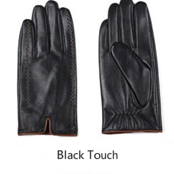 Gours Winter Men's Genuine Leather Gloves 2017 New Brand Touch Screen Gloves Fashion Warm Black Gloves Goatskin Mittens GSM012