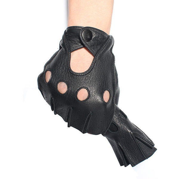 Gours Winter Mens Genuine Leather Fingerless Gloves Black Half Finger gym Workout Fitness Driving Male Gloves GSM046