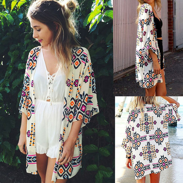 Beach Caftan Swimsuit Cover Up Print