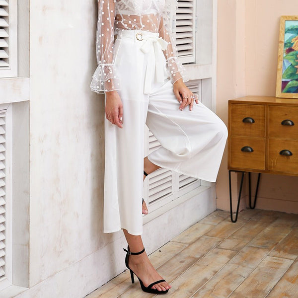 Metal Ring Tie Up Wide Leg Pants