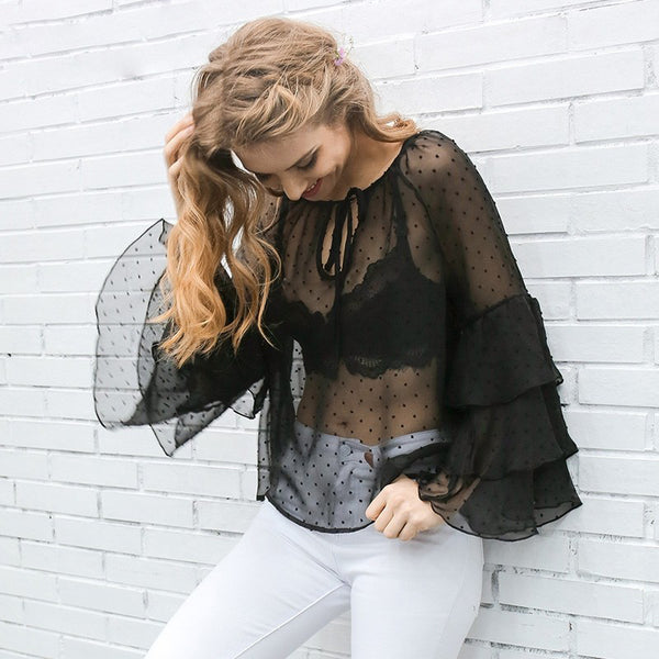 Ruffle Blouse Transparent Blouse