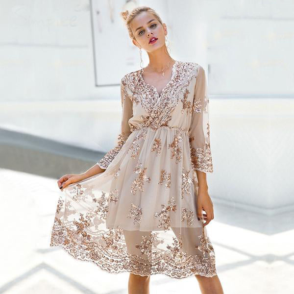 V-Neck Long Sleeve Sequin party Dress