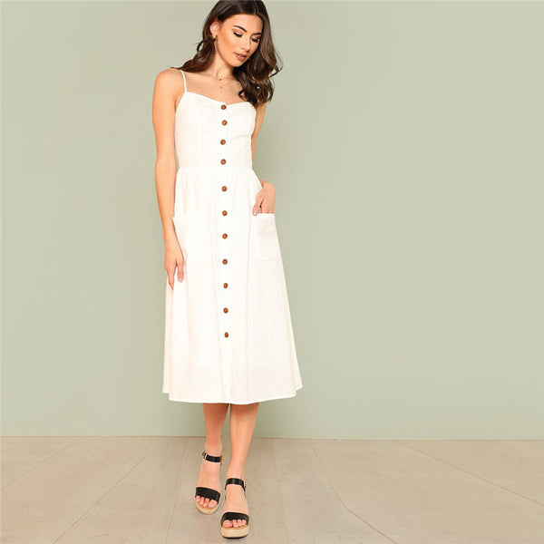 White Button Up Cami Dress