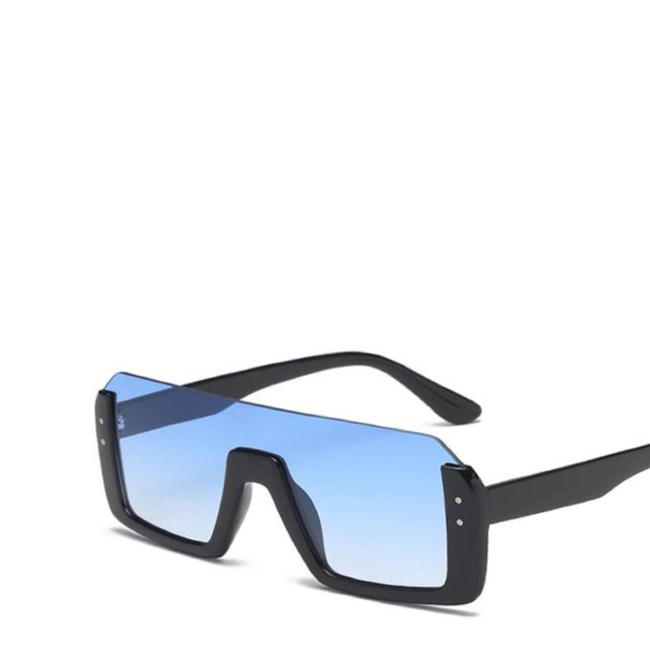 Jupiter | Rectangle Semi-Rimless Sunglasses in Blue