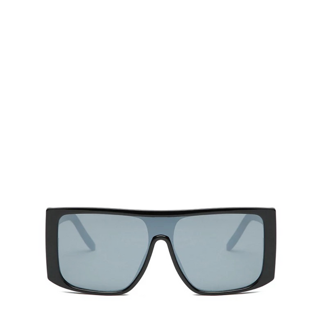 Fader | Retro Square Shield Sunglasses - Black x Silver
