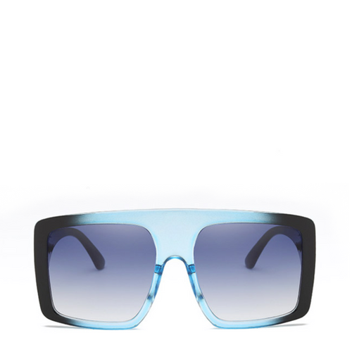 OCS | Luxe Oversized Square Sunglasses in Black x Blue