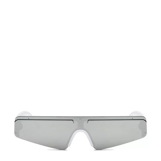Euro | Sleek Futuristic Sunglasses in White x Silver