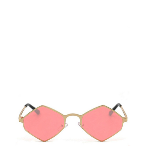 Sway | Retro Geometric Hexagon-Diamond Sunglasses in Gold x Pink