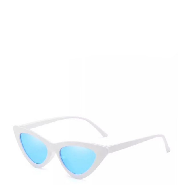 Gigi | Retro Cat-Eye Sunglass in White x Blue