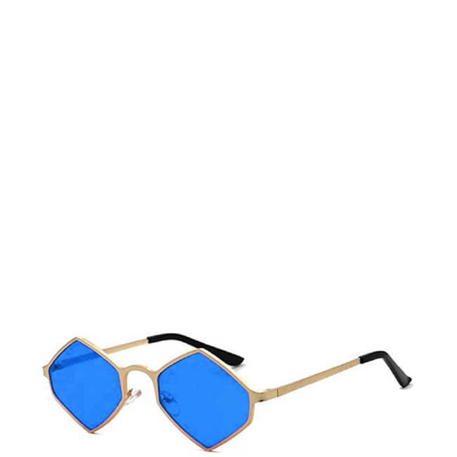 Sway | Retro Geometric Hexagon-Diamond Sunglasses in Gold x Blue