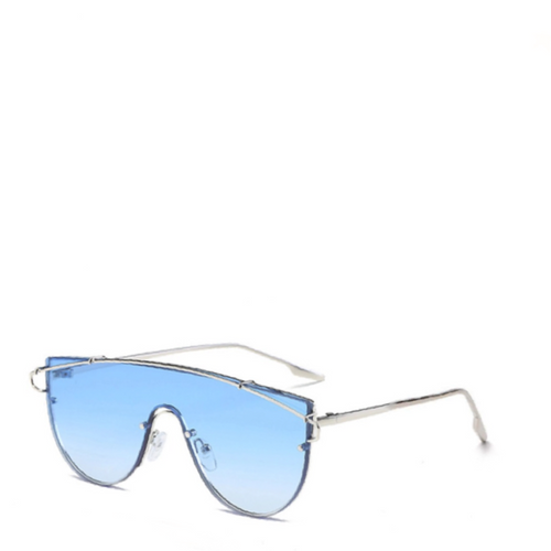 Nova | Futuristic Shield Aviator Sunglasses in Blue