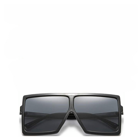 Jupiter | Rectangle Semi-Rimless Sunglasses in Black