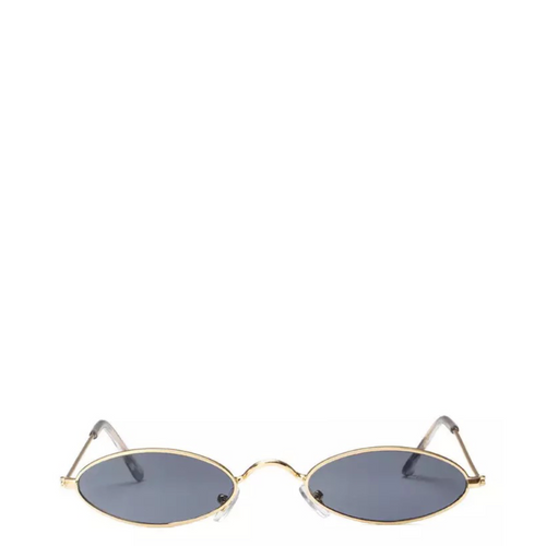 Davinci | Classic Small Oval Retro Sunglasses in Gold x Black