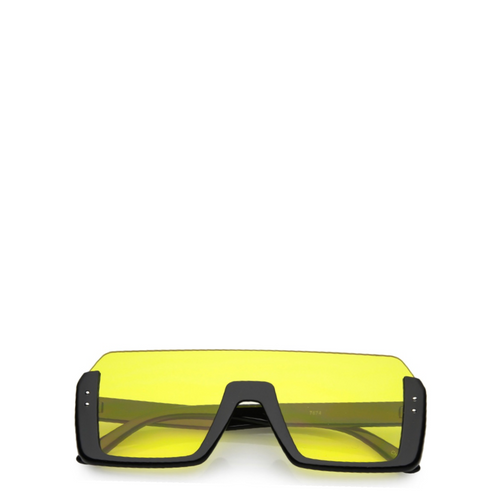 Jupiter | Rectangle Semi-Rimless Sunglasses in Yellow
