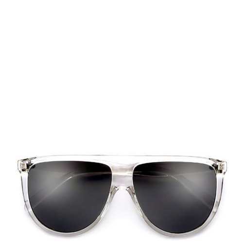 Solaris | Flat-Top Aviator Sunglasses in Clear x Black