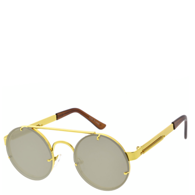 Maddox | Retro Metal-Framed Steampunk Sunglasses - Gold x Smoke
