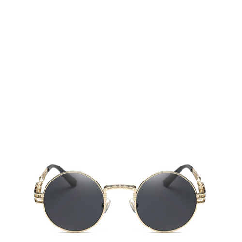 Classic Round Steampunk Sunglasses in Gold x Black